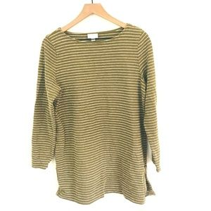 J.Jill Brown Stripe Tunic Sweater